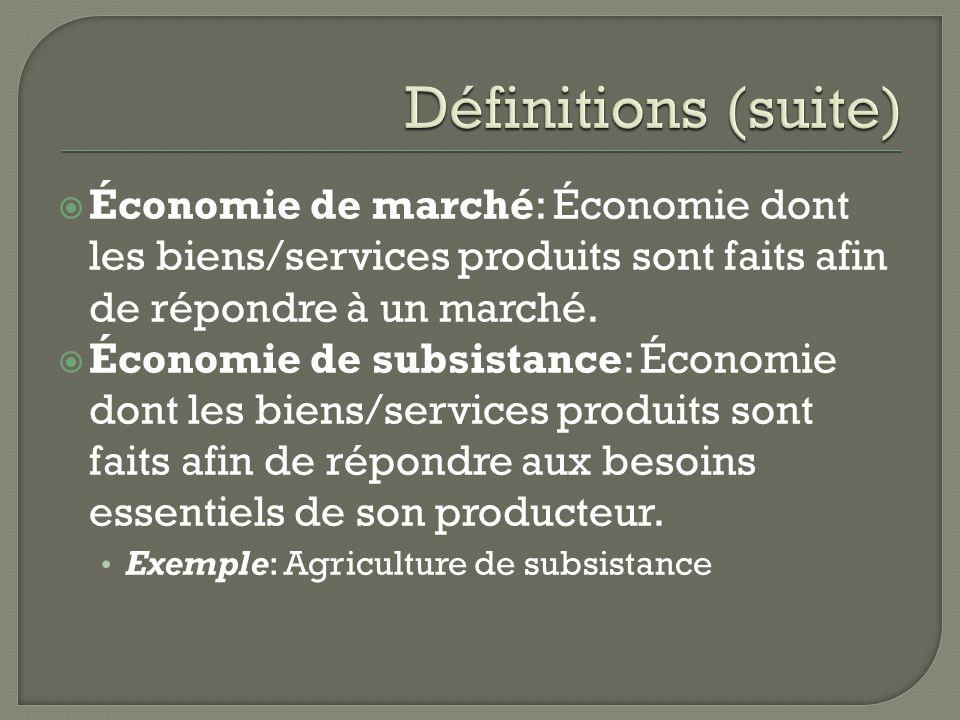Définitions (suite) Économie de marché: Économie dont les biens/services produits sont faits afin de répondre à un marché.
