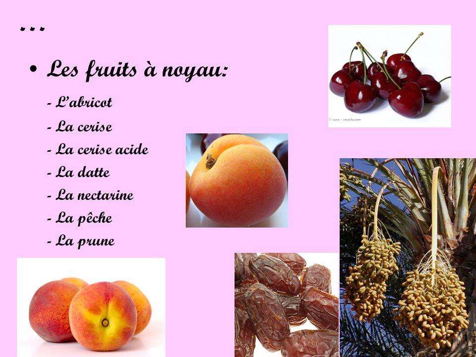 … Les fruits à noyau: - L'abricot - La cerise - La cerise acide