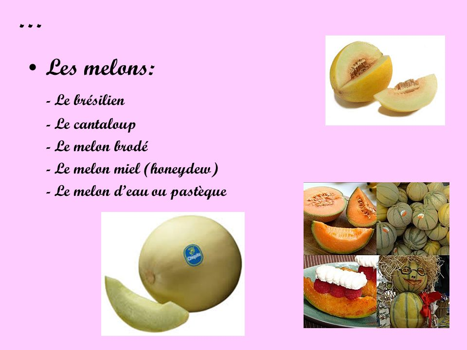 … Les melons: - Le brésilien - Le cantaloup - Le melon brodé