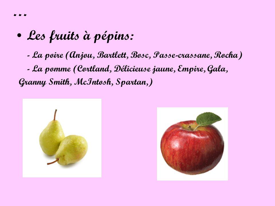 … Les fruits à pépins: - La poire (Anjou, Bartlett, Bosc, Passe-crassane, Rocha) - La pomme (Cortland, Délicieuse jaune, Empire, Gala,