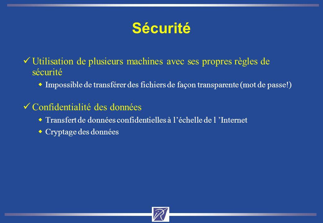 Sécurité Utilisation de plusieurs machines avec ses propres règles de sécurité.
