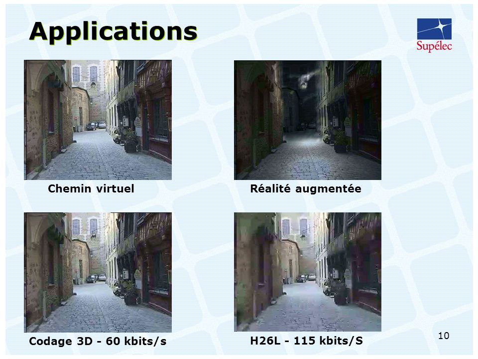 Applications Chemin virtuel Réalité augmentée Codage 3D - 60 kbits/s