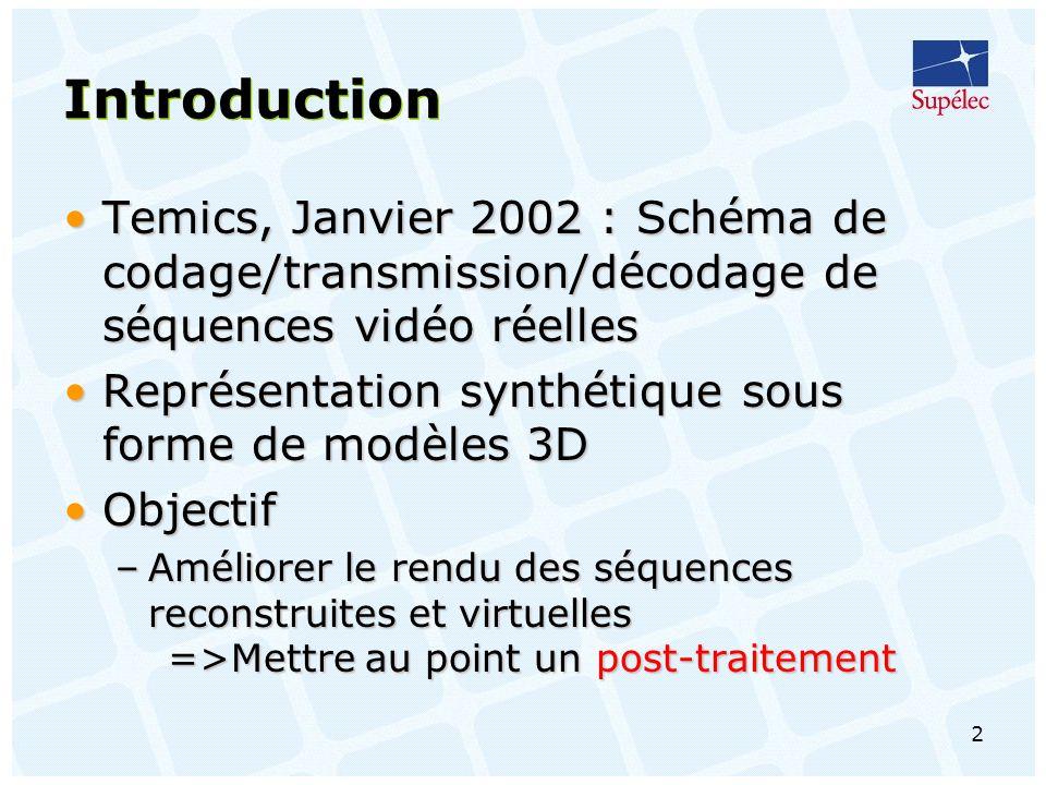 Introduction Temics, Janvier 2002 : Schéma de codage/transmission/décodage de séquences vidéo réelles.