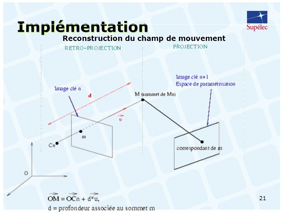 Reconstruction du champ de mouvement