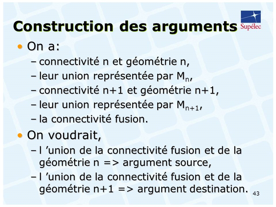 Construction des arguments
