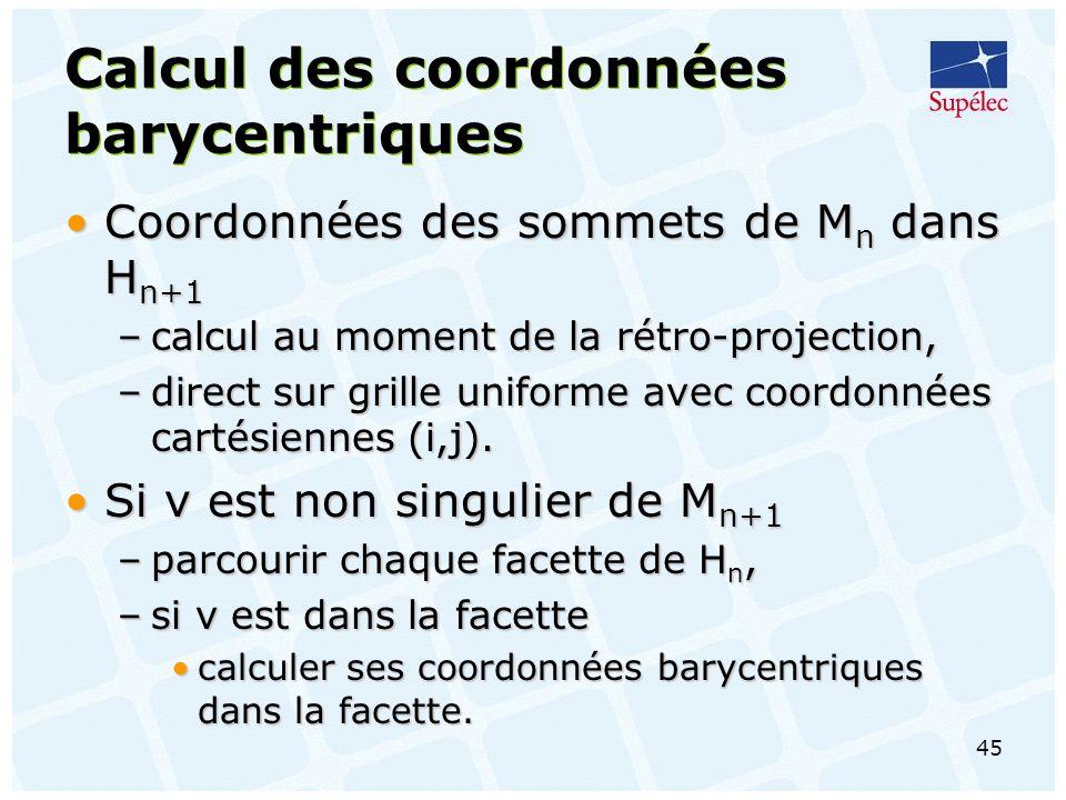 Calcul des coordonnées barycentriques