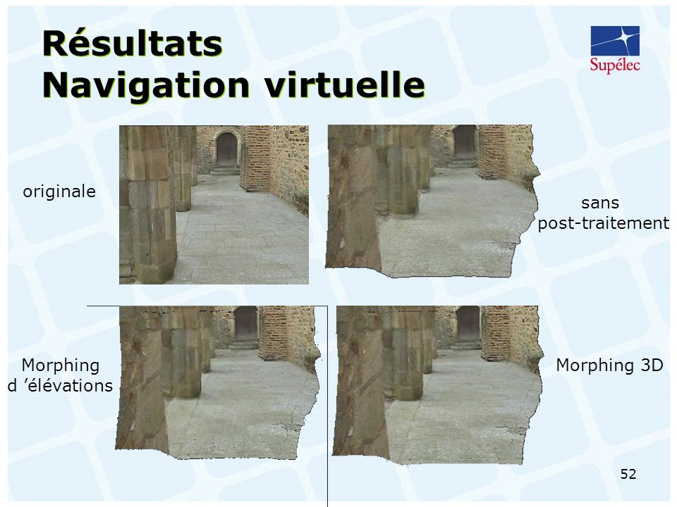 Résultats Navigation virtuelle