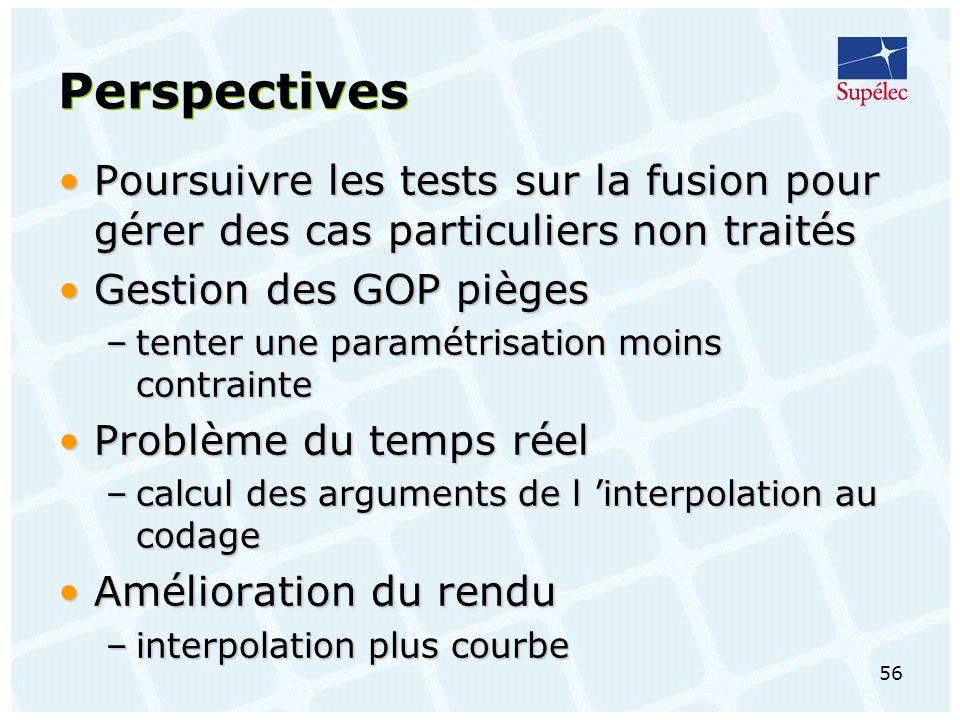 Perspectives Poursuivre les tests sur la fusion pour gérer des cas particuliers non traités. Gestion des GOP pièges.