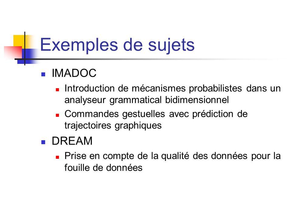 Exemples de sujets IMADOC DREAM