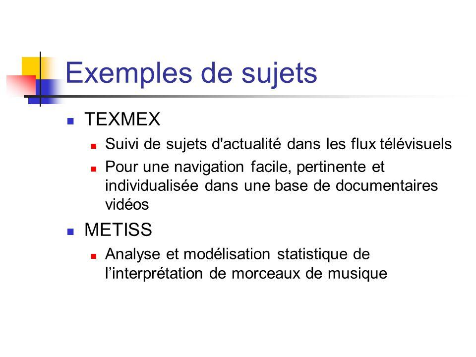 Exemples de sujets TEXMEX METISS