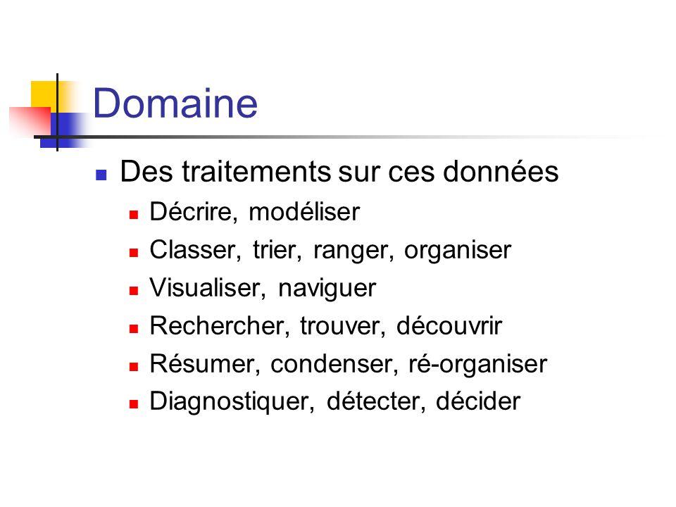 Domaine Des traitements sur ces données Décrire, modéliser
