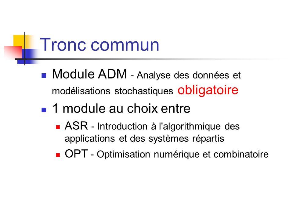 Tronc commun Module ADM - Analyse des données et modélisations stochastiques obligatoire. 1 module au choix entre.