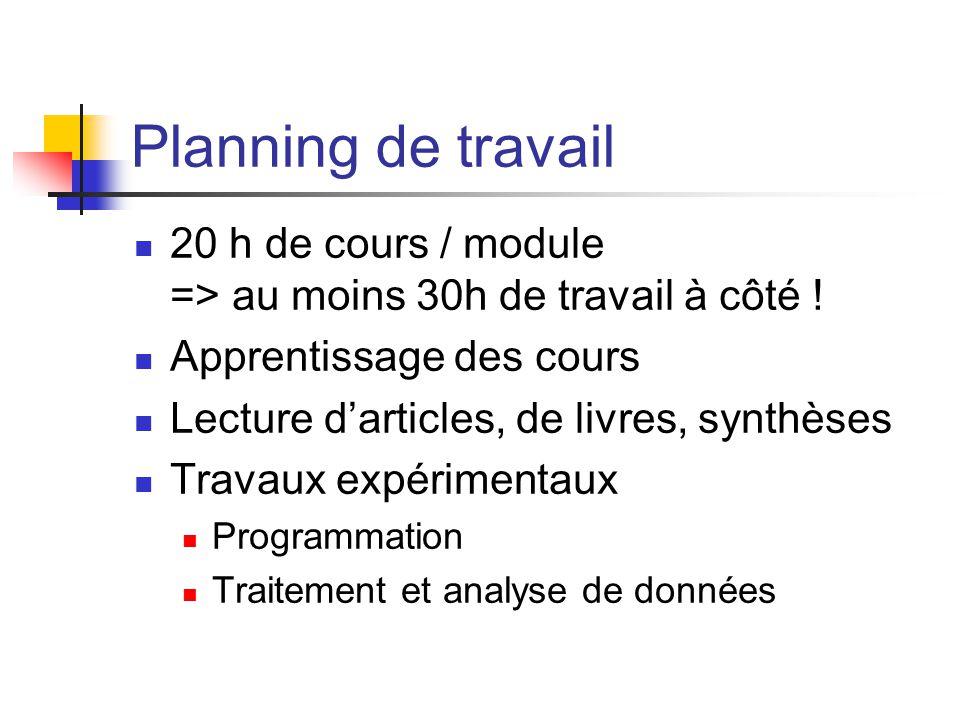Planning de travail 20 h de cours / module => au moins 30h de travail à côté ! Apprentissage des cours.