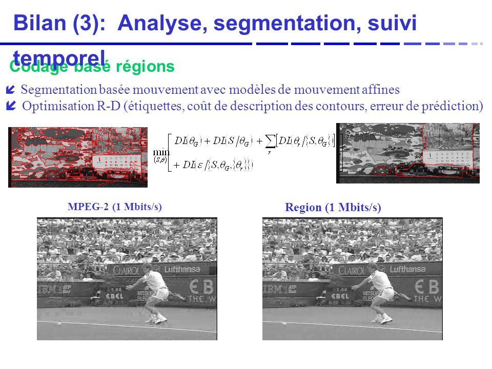 Bilan (3): Analyse, segmentation, suivi temporel