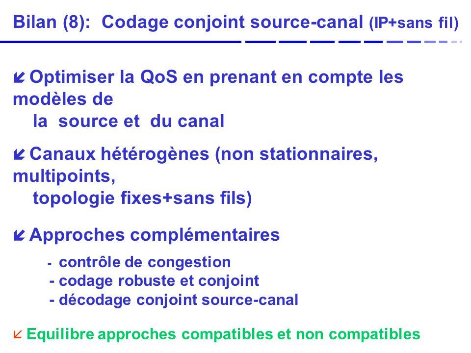 Bilan (8): Codage conjoint source-canal (IP+sans fil)