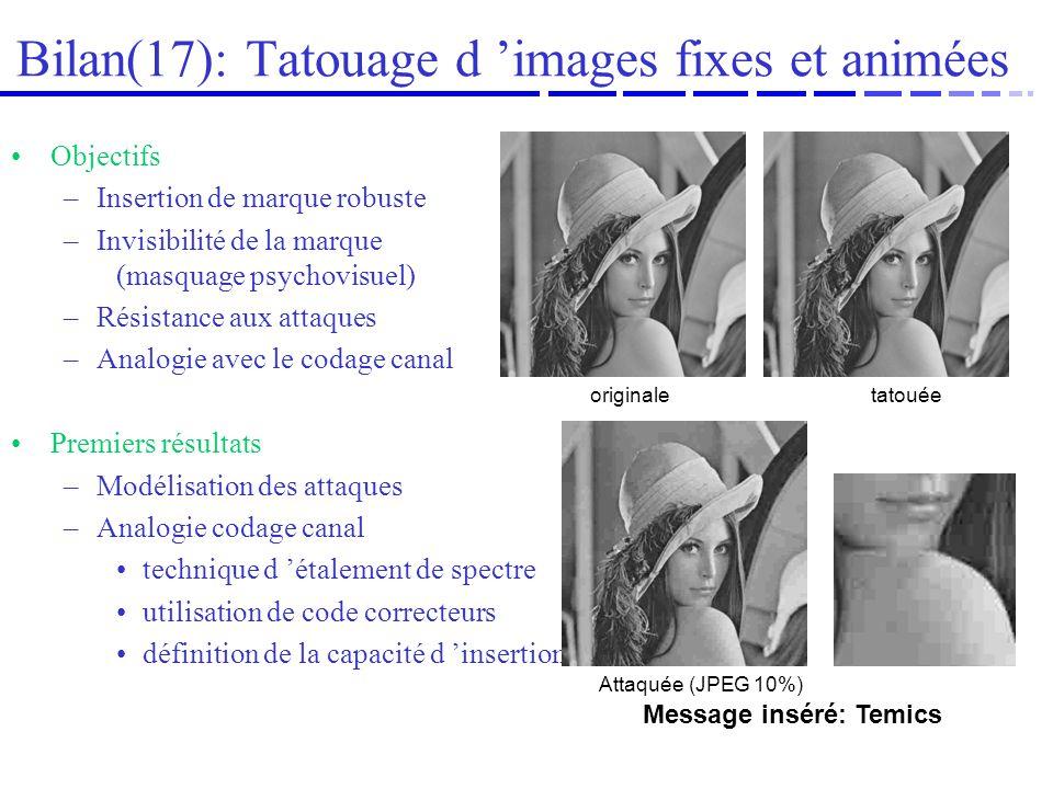 Bilan(17): Tatouage d 'images fixes et animées
