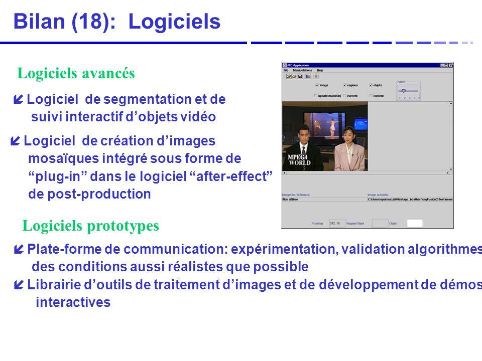 Bilan (18): Logiciels Logiciels avancés Logiciels prototypes