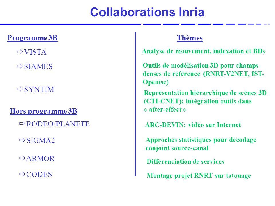 Collaborations Inria Programme 3B Hors programme 3B Thèmes VISTA