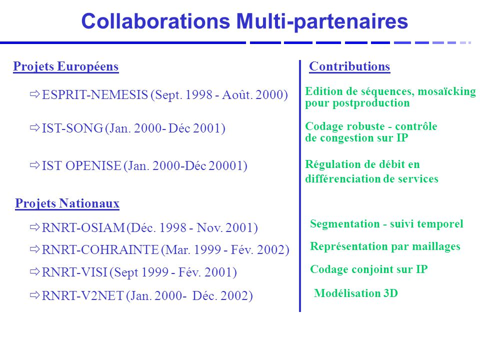 Collaborations Multi-partenaires