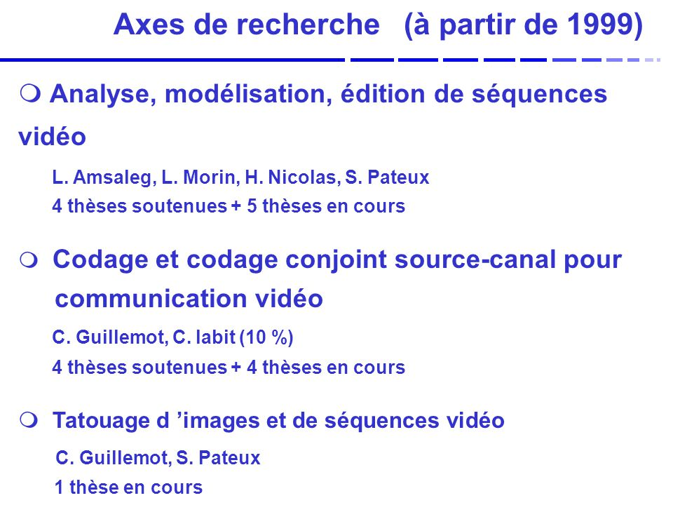 Axes de recherche (à partir de 1999)