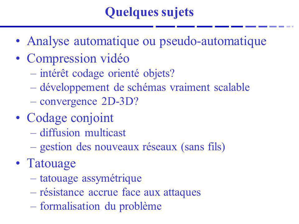 Analyse automatique ou pseudo-automatique Compression vidéo
