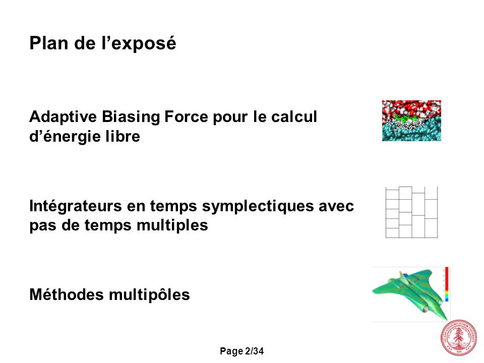 Plan de l'exposé Adaptive Biasing Force pour le calcul d'énergie libre