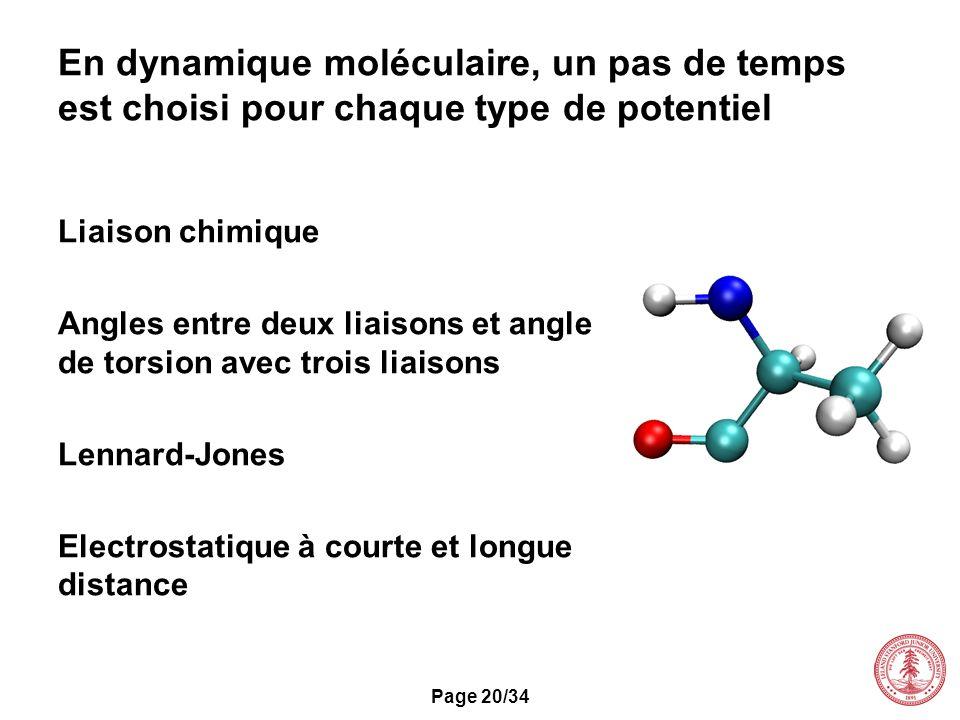 En dynamique moléculaire, un pas de temps est choisi pour chaque type de potentiel