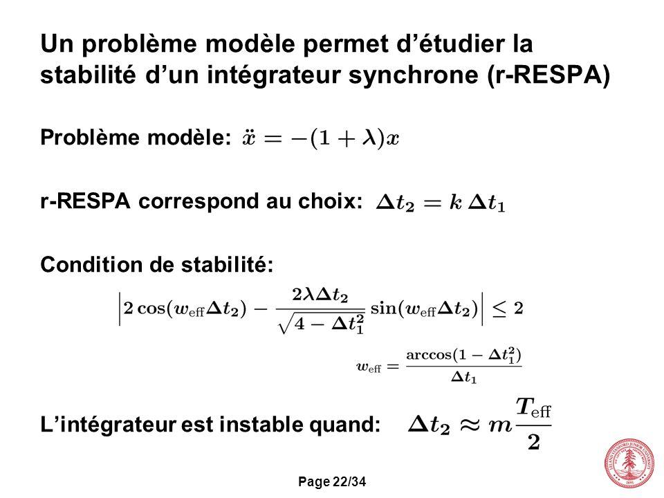 Un problème modèle permet d'étudier la stabilité d'un intégrateur synchrone (r-RESPA)