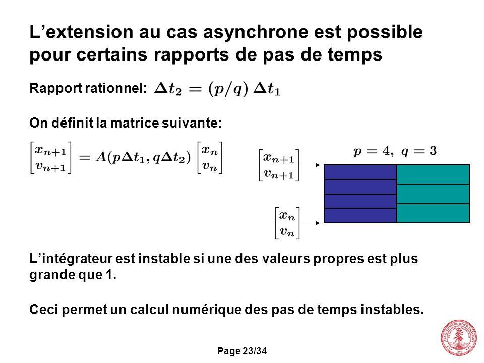 L'extension au cas asynchrone est possible pour certains rapports de pas de temps