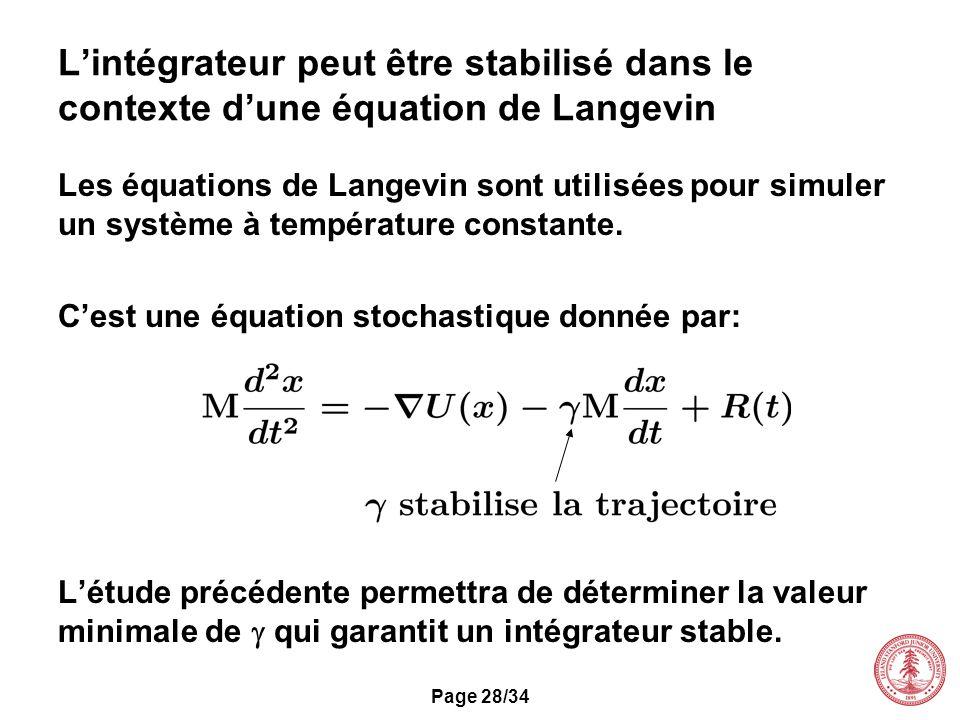 L'intégrateur peut être stabilisé dans le contexte d'une équation de Langevin