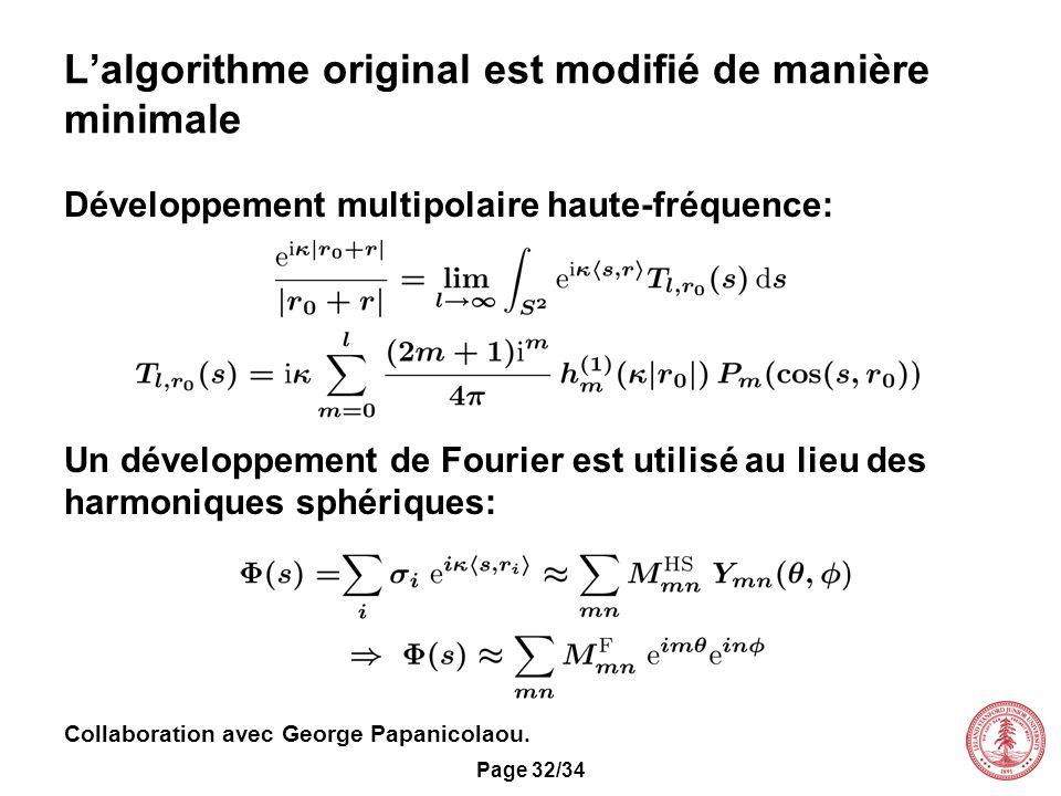 L'algorithme original est modifié de manière minimale