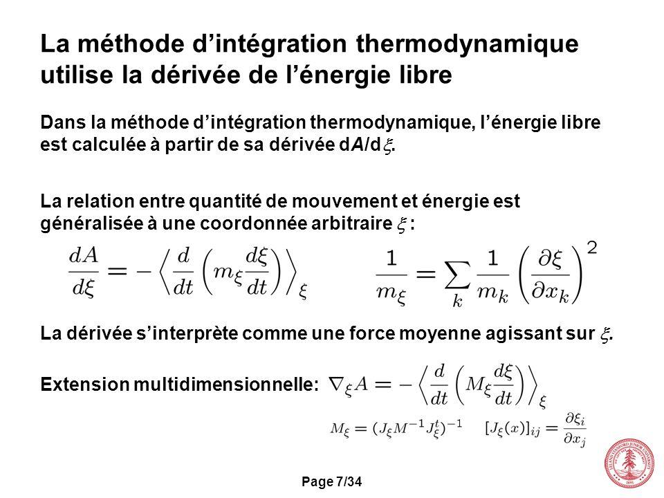 La méthode d'intégration thermodynamique utilise la dérivée de l'énergie libre