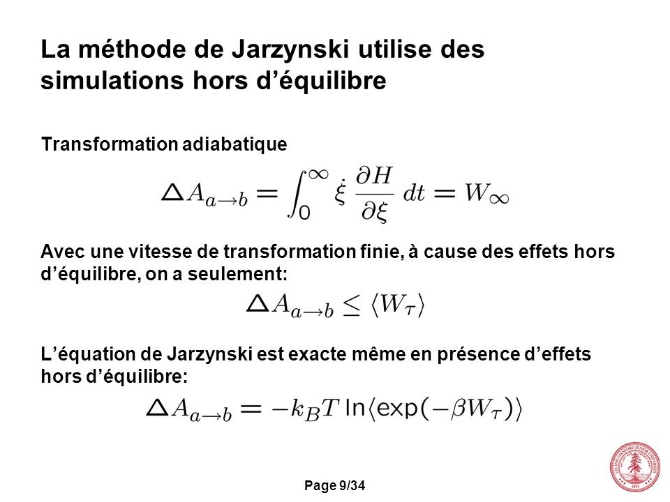 La méthode de Jarzynski utilise des simulations hors d'équilibre