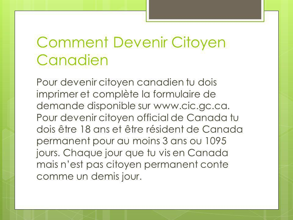 Comment Devenir Citoyen Canadien