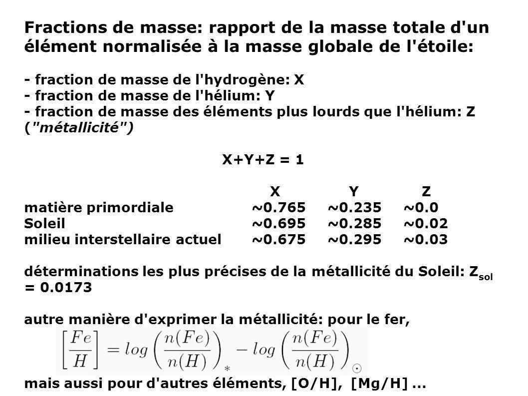 Fractions de masse: rapport de la masse totale d un élément normalisée à la masse globale de l étoile: