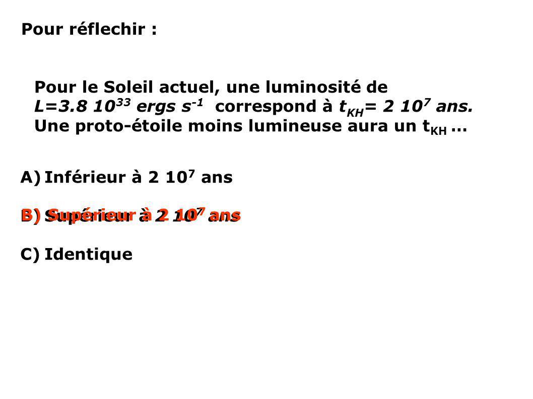 Pour réflechir : Pour le Soleil actuel, une luminosité de. L=3.8 1033 ergs s-1 correspond à tKH= 2 107 ans.