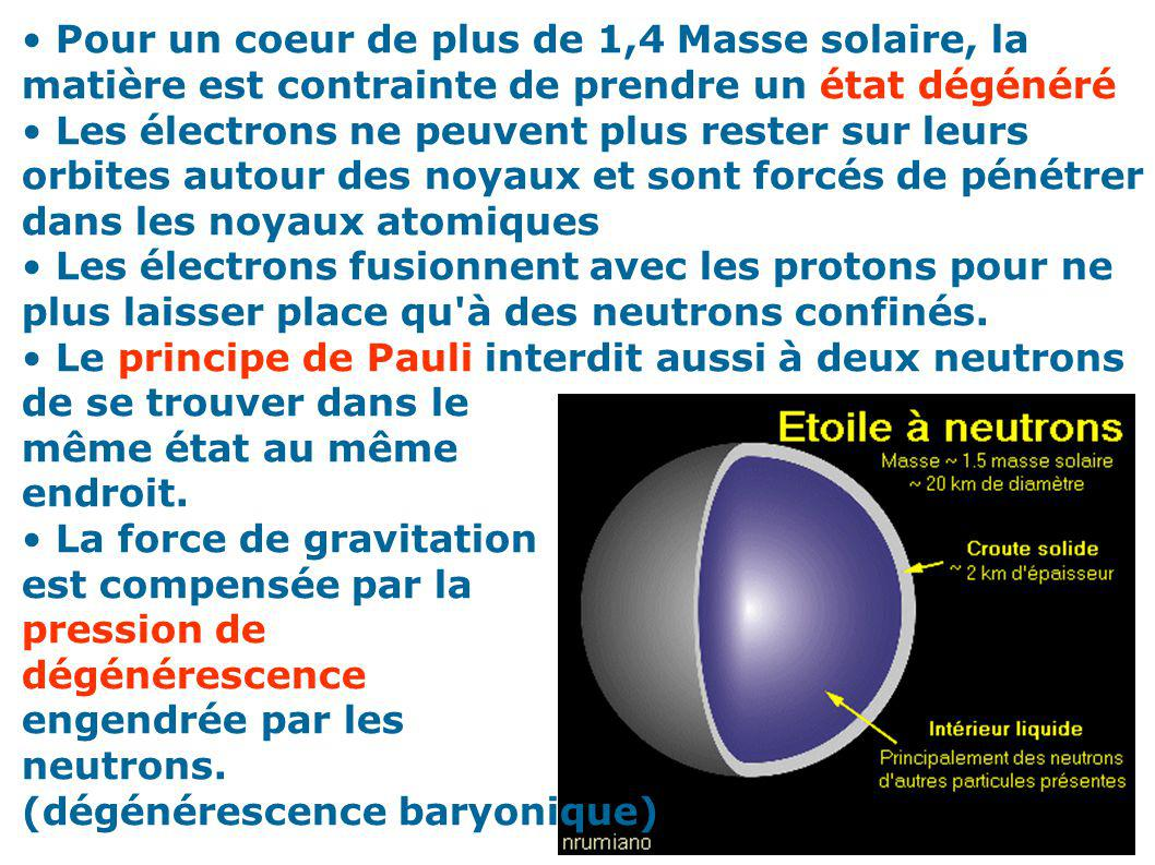 Pour un coeur de plus de 1,4 Masse solaire, la matière est contrainte de prendre un état dégénéré