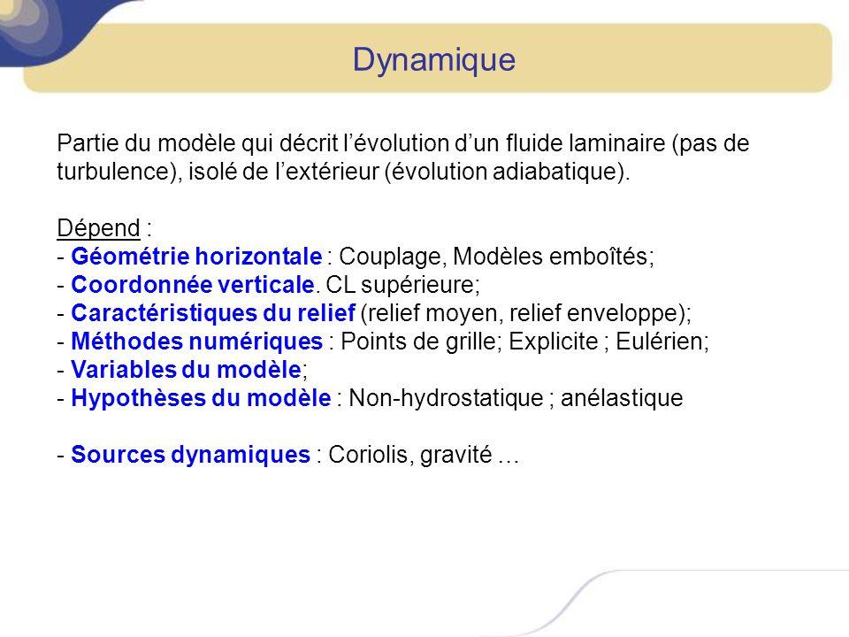 Dynamique Partie du modèle qui décrit l'évolution d'un fluide laminaire (pas de turbulence), isolé de l'extérieur (évolution adiabatique).
