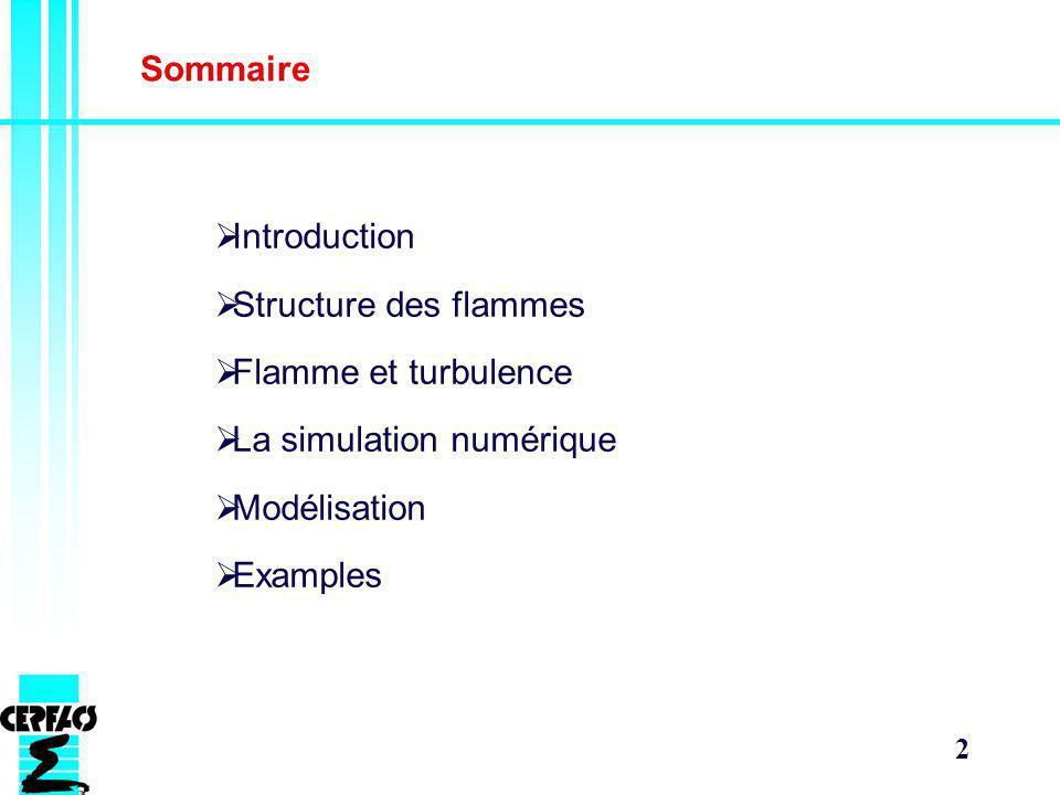 Sommaire Introduction. Structure des flammes. Flamme et turbulence. La simulation numérique. Modélisation.