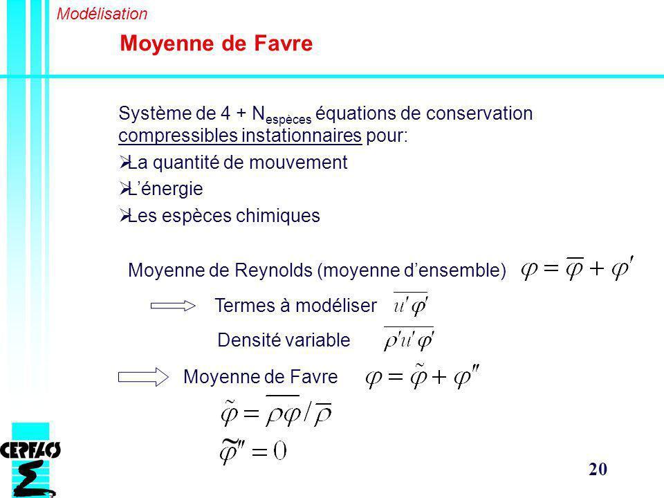 Modélisation Moyenne de Favre. Système de 4 + Nespèces équations de conservation compressibles instationnaires pour: