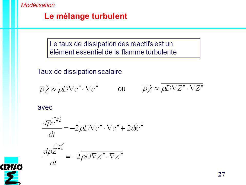 Modélisation Le mélange turbulent. Le taux de dissipation des réactifs est un élément essentiel de la flamme turbulente.