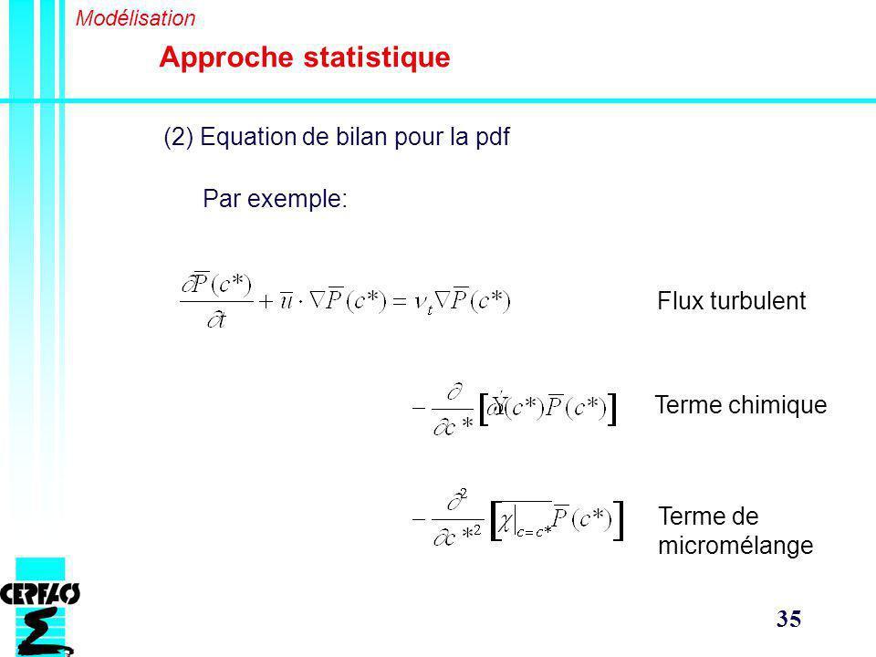 Approche statistique (2) Equation de bilan pour la pdf Par exemple: