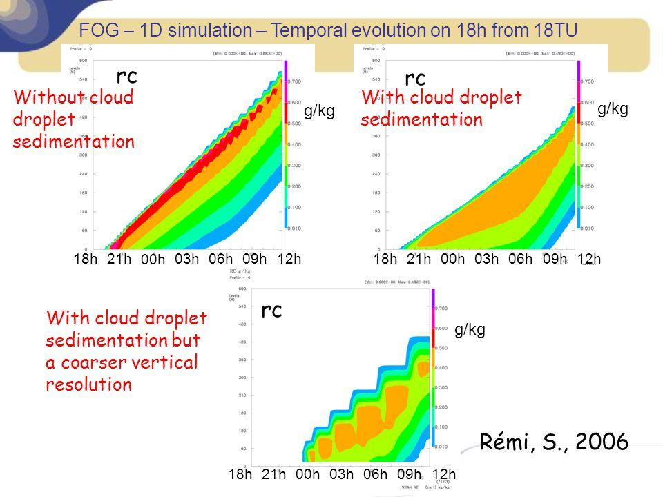FOG – 1D simulation – Temporal evolution on 18h from 18TU