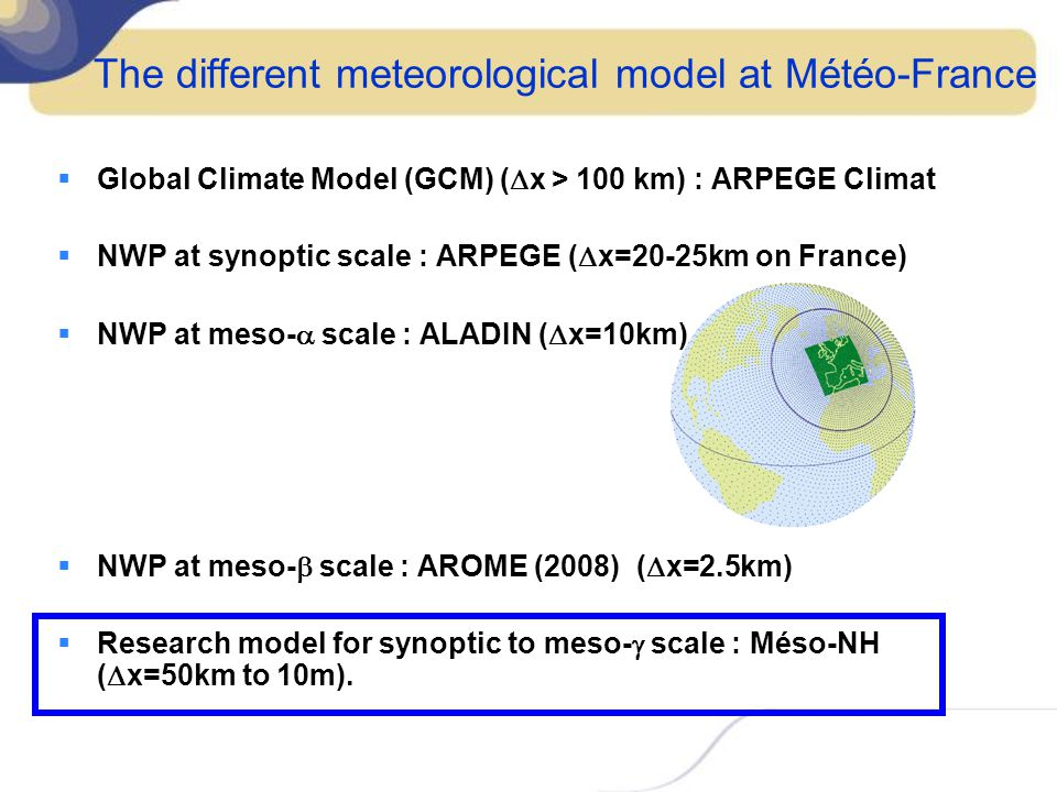 The different meteorological model at Météo-France