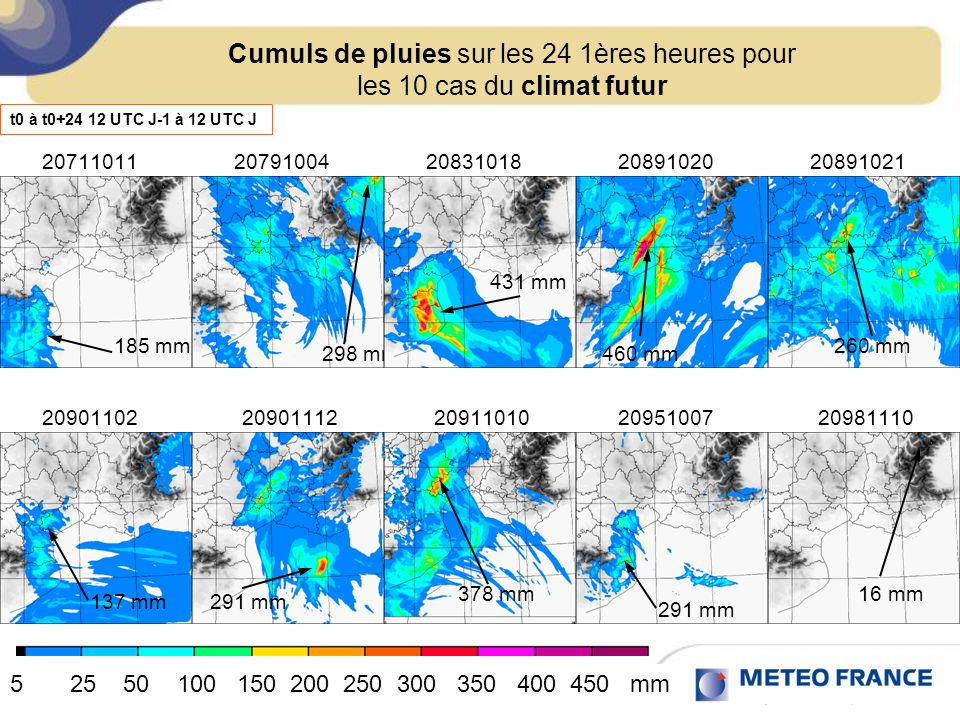Cumuls de pluies sur les 24 1ères heures pour les 10 cas du climat futur