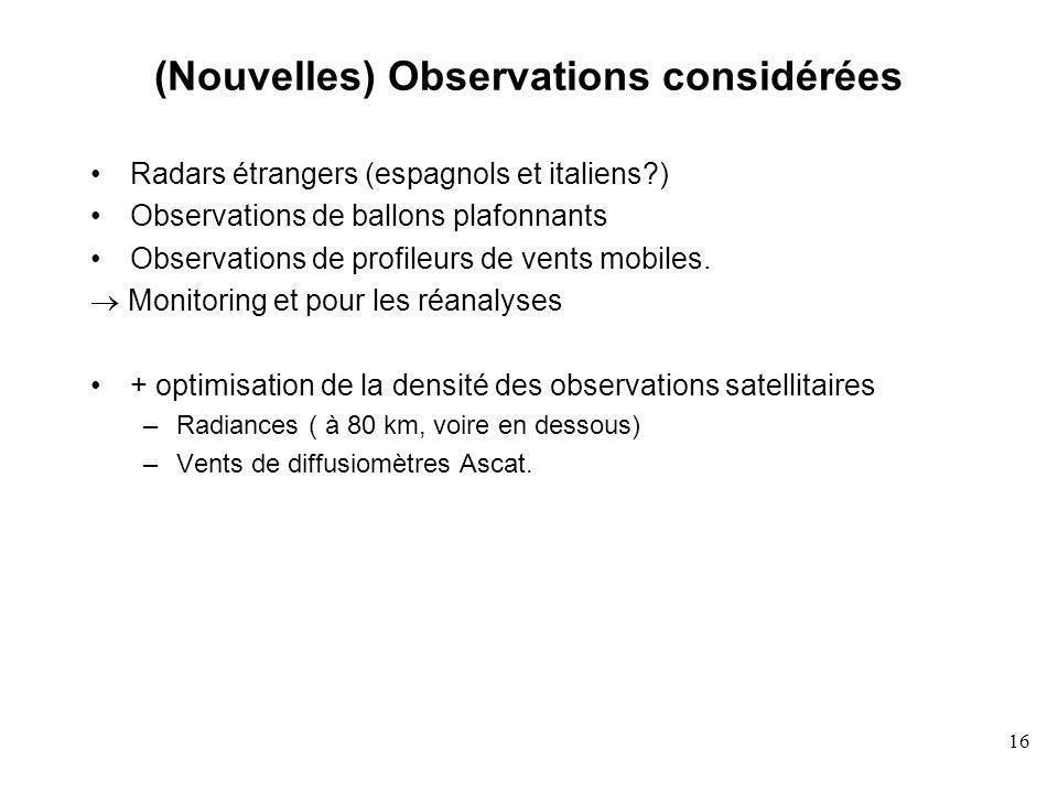 (Nouvelles) Observations considérées