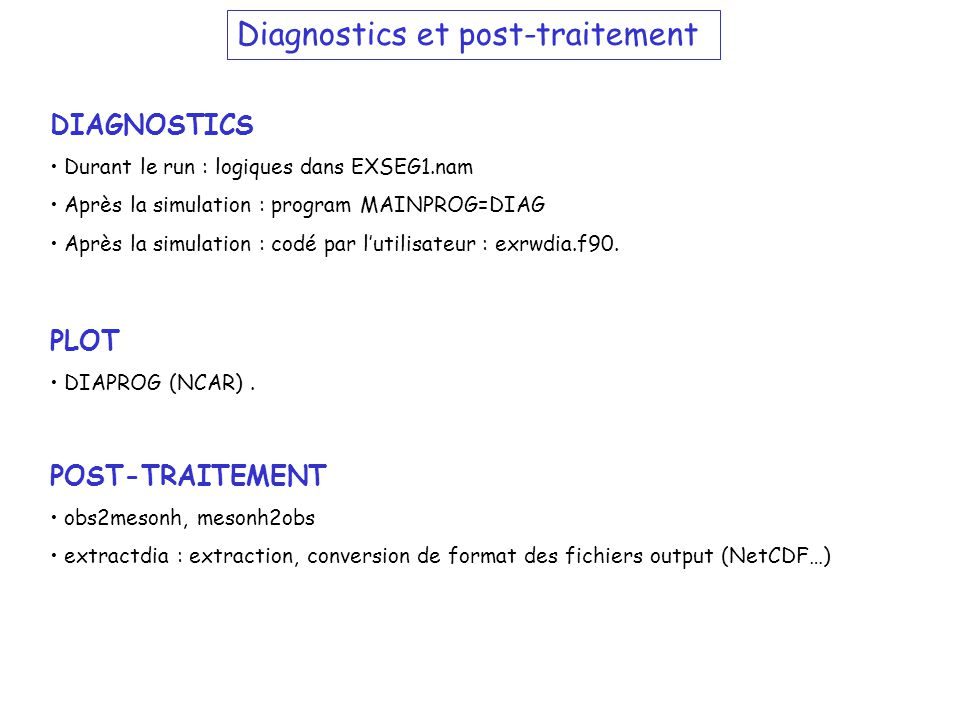 Diagnostics et post-traitement