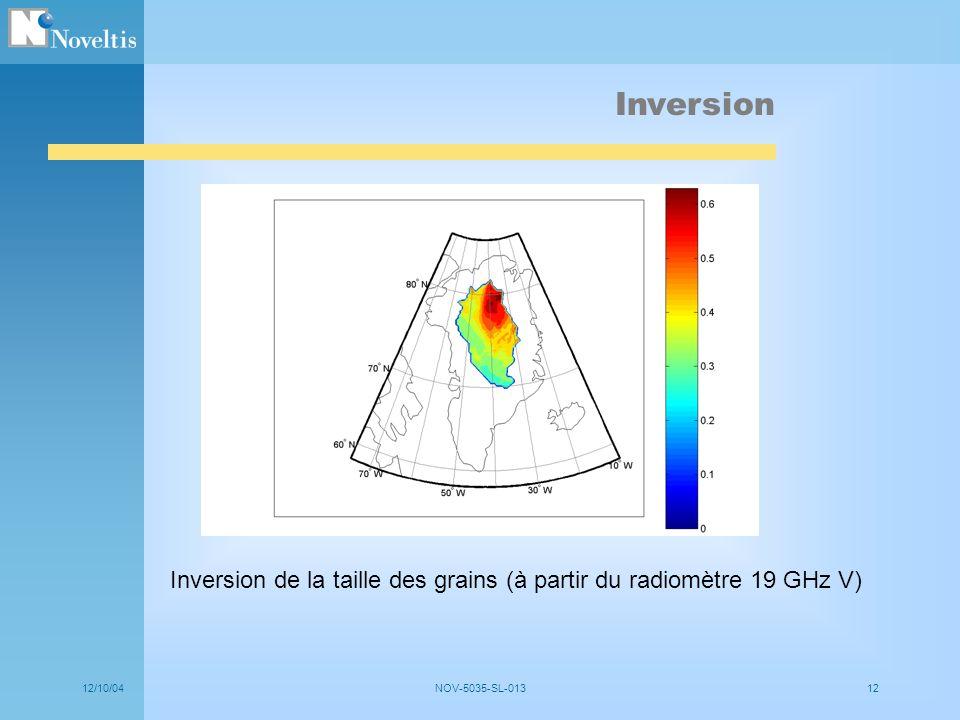 Inversion Inversion de la taille des grains (à partir du radiomètre 19 GHz V) 12/10/04.