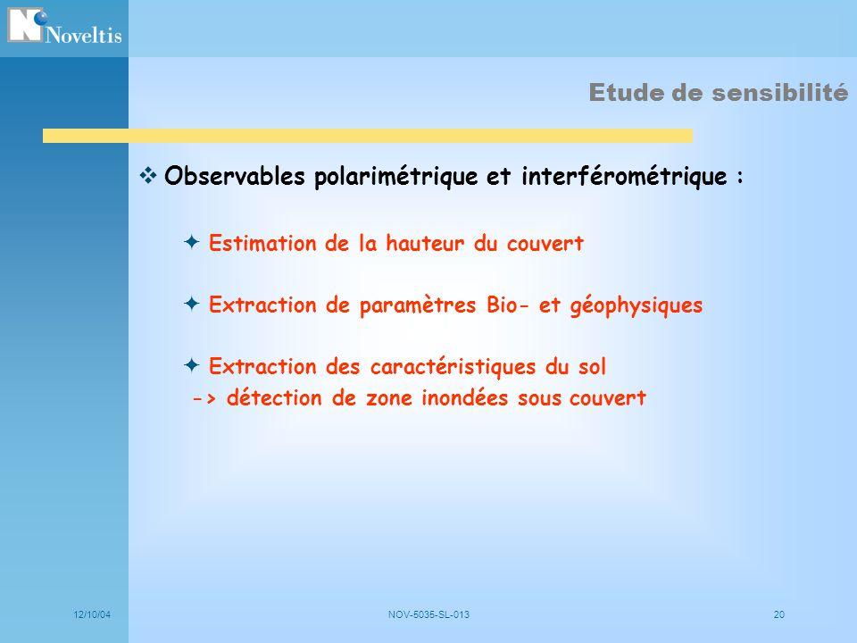 Observables polarimétrique et interférométrique :