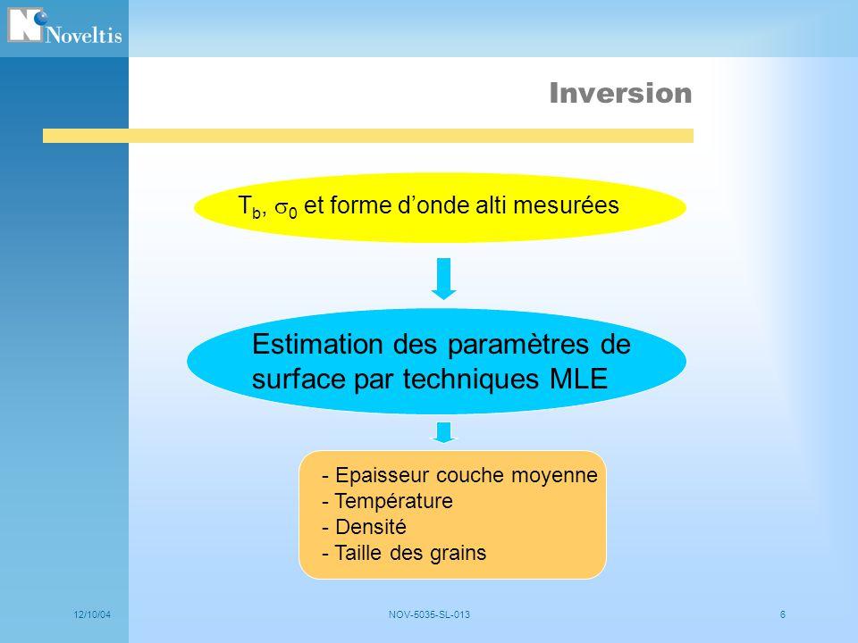 Estimation des paramètres de surface par techniques MLE
